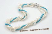 tpn183 Fashion Five Rows 4-5mm Freshwater Pearl and Turquoise Twisted Necklace
