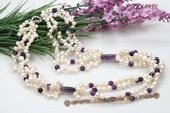tpn184 Four Rows Freshwater Pearl Twisted Necklace with Amethyst Beads