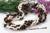 tpn185 Five Twisted Strands Dancing Pearl Necklace mixing Tourmaline Beads