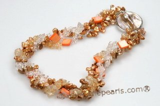 tpn186 Three Twisted Strands Keshi Pearl Necklace with Crystal& Shell beads