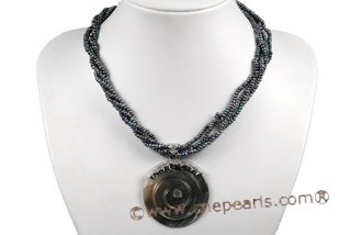 Tpn187 Exquisite Three Rows Button Seed Pearl Twisted Necklace