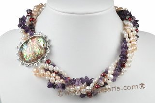 tpn188 amethyst beads and 4-5mm  Cultured Freshwater Pearl five strand  Twist Pearl Necklace