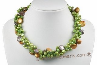 tpn190 Three strands  6-7mm green freshwater nugget pearl twisted necklace