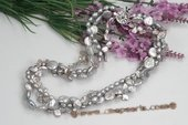 tpn197 Handmade Grey Cultured Freshwater Pearl Twisted Necklace