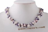 tpn198 Designer Cultured Pearl and  Amethyst Beads Twisted Necklace