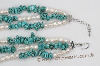 Tpn200 Timeless Potato Pearl and Irregular Turquoise Twisted Necklace