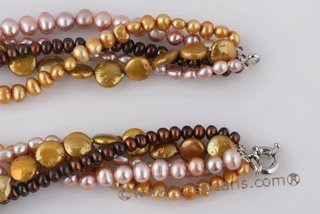 Tpn201 Timeless Five Rows Colorful Cultured Pearl Twisted Necklace