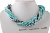 Tpn203 Trendy Six Rows Cultured Pearl and Crystal Twisted Necklace