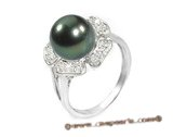 Tpr001 10-11mm Tahitian Pearl & Clear CZ's Ring in Sterling silver