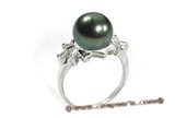 Tpr003 925silver 10-11mm black Tahitian Pearl Crown Jewelry Ring