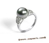 Tpr004 Sterling silver 10-11mm black Tahitian Pearl & Swarovski CZ's wedding Ring