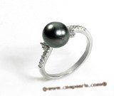 Tpr005 8-9mm Tahitian Pearl Sparkling Jewel Ring in sterling silver