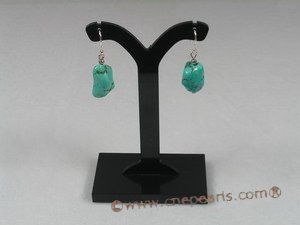 tqe006 Sterling 10*15mm green nugget turquoise beads dangling Earring