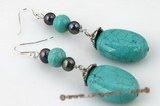 tqe011 Oval Turquoise and Black cultured pearl Dangle Earrings