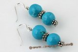 tqe013 Pierced dangle earrings with 10mm round blue turquoise