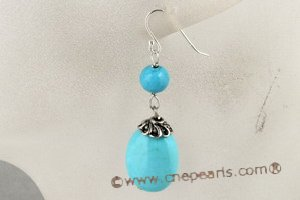 tqe014 Blue Turquoise dangle Earring with 925silver hook