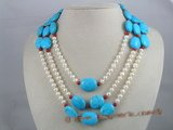 tqn008 four strands 20*15mm bule oval turquoise beads necklace