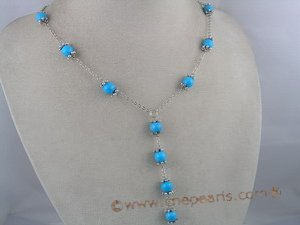 tqn017  Y Style silver plated Rolo Necklace with 8mm Turquoise beads