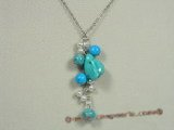 tqn039  blue nugget turquoise beads Y Style necklace with metal chain
