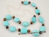 tqn042 Oval Turquoise and Tiger Eye Sterling Silver Necklace on sale