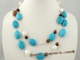 tqn043 Two strand Oval Turquoise and shll pearl beads Necklace in silver plated