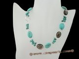 tqn045 Modern Oval Turquoise and smoking quartz Necklace in wholesale