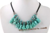 tqn056 Irregular Green Turquoise Beads Princess Necklace