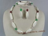 tqset014 white irregular turquoise and multi-color jade neckalce jewelry set