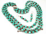 tqset019 Wholesale Square green turquoise and red coral triple strand necklace