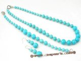 tqset020 Gradual change round turquoise necklace and bracelet jewelry set on sale