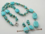 tqset022 Elegant Oval Turquoise and faceted crystal Y style Necklace &earring set