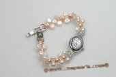 Wbr109 Handcraft White and Pink Bread Pearl Watch Bracelet