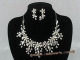 wn001 charming bridal & wedding pearl necklace earrings set
