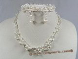 wn003 White seed pearl and crystal twisted bridal jewelry set