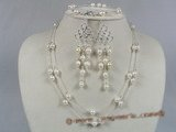 wn005  Stylish Tin-cup style Baroque akoya pearls bridale necklace set
