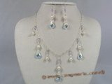 wn006 Stylish Baroque salt water pearl with Austria crystal wedding necklace set