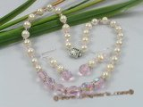 wn018 Handcrafted chinese crystal with pearls Wedding Necklace earrings Set