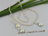 wn021 Faceted Austria crystal with seed pearls Birdal necklace earrings Set