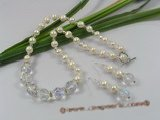 wn022 Bridal white Pearls & faceted Crystals Necklace earrings Set