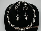 wn026 Elegant silver star pattern bridesmaids necklace set with culutred pearl
