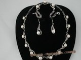 wn027 Elegant silver bread pearl valentine&#39s jewelry set in tear-drop pattern