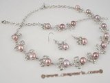 wn028 Silver peach pattern with purple bread pearl necklace jewelry set