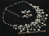 wn037 Fashion pearl and crystal bridal & wedding necklace jewelry set