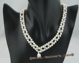 wn038 Handcrafted V style potato pearl Wedding Necklace in wholesale