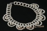 Wn043 Hand kniteed white freshwater pearl bridal costume necklace