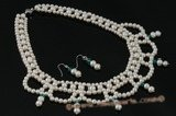 Wn050 Hand kniteed white freshwater pearl& crystal bridesmaid necklace set