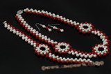 Wn057 Fancy Hand kniteed freshwater pearll&red coral bridesmaid jewerly set