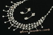 Wnset005 Hand-crafted Rhinestone and pearl bride necklace Set