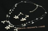 Wnset010 Simple Pearl & Crystal Cluster Illusion jewelry Set