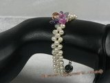 zbr012 Handmade 7.5inch 4-5mm potato pearl& Zircon beads Bracelet